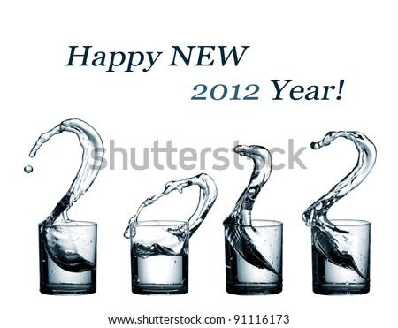Water splash happy new 2012 year