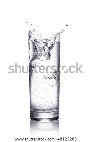 water splash in a glass.  Isolated on white background with clipping path