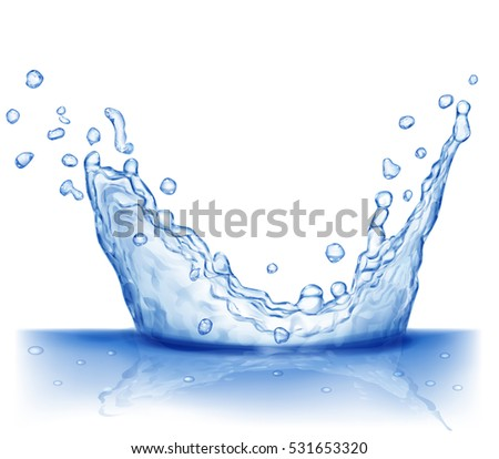 Water splash in blue colors, isolated on white background. Scatter spray from falling into the water. Crown from splash of water. #531653320
