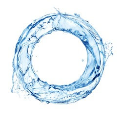 Water splash in circle. Round water shape isolated on white background