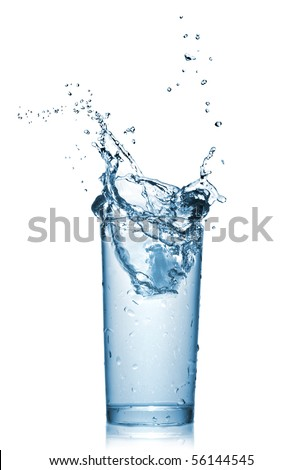 Stock Photo water splash in glass isolated on white