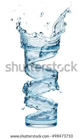 water splash in glass isolated on white background - Shutterstock ID 498473710