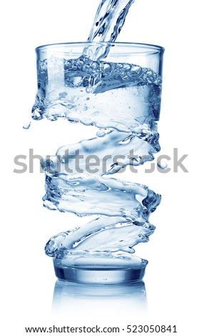 water splash in glass isolated on white background - Shutterstock ID 523050841