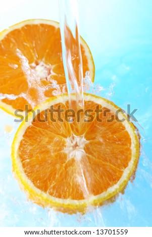 water splash in half orange blue background