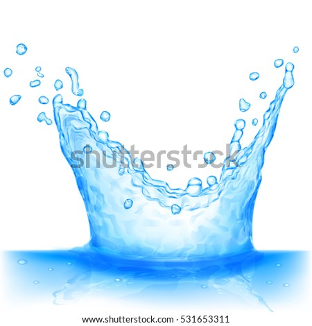 Water splash in light blue colors, isolated on white background. Scatter spray from falling into the water. Crown from splash of water. #531653311