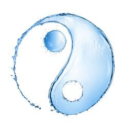 water splash in shape of Yin Yang sign