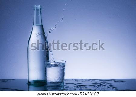 water splash in the glass
