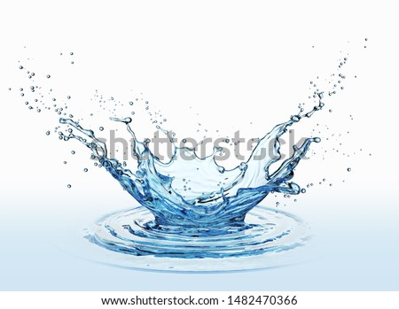 water splash isolated on white background 3d rendering.