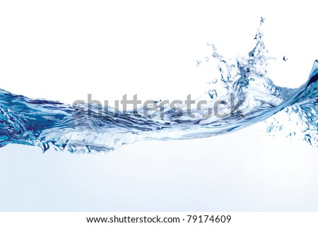 Water splash isolated on white. Close up of splash of water forming flower shape, isolated on white background.