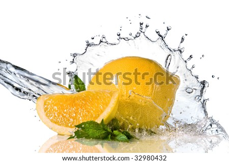 Water splash on lemon with mint isolated on white