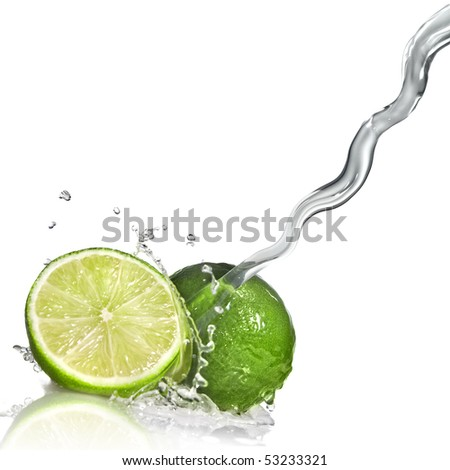 Water splash on lime isolated on white
