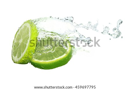 Water splash on lime slices