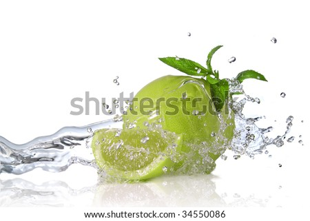 Water splash on lime with mint isolated on white