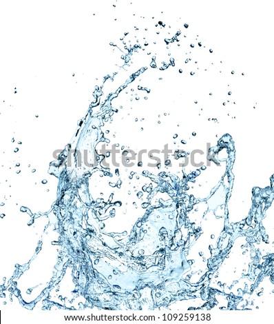 Water splash over white - stock photo