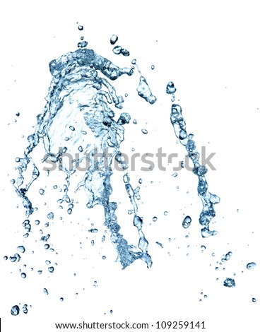 Water splash over white