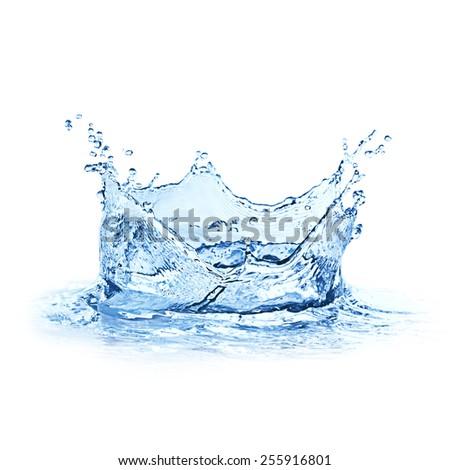 Water splash over white background