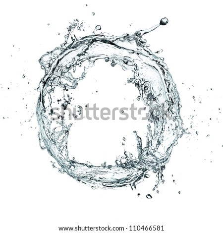 Water splash ring over white background