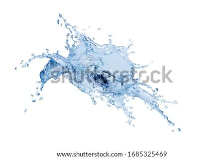 Water splash,water splash isolated on white background,blue water splash,