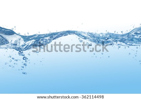 Water splash with bubbles of air, isolated on the white background. - Shutterstock ID 362114498