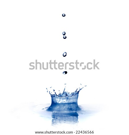 water splash with drops isolated on white