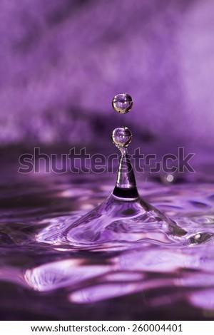 Water splash with drops on dark purple background.
