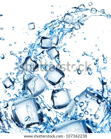 Water splash with ice cubes