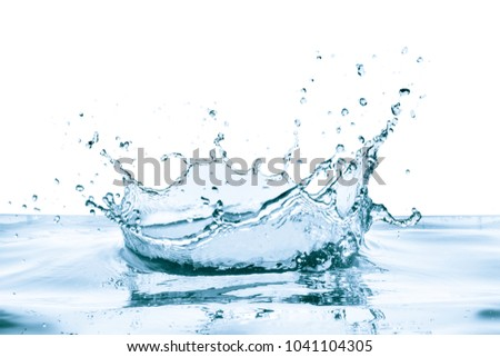 water splash with reflection, isolated #1041104305
