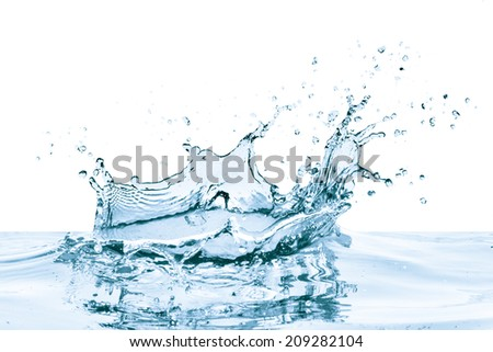 water splash with reflection, isolated - Shutterstock ID 209282104