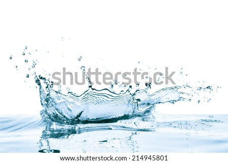 water splash with reflection, isolated - Shutterstock ID 214945801