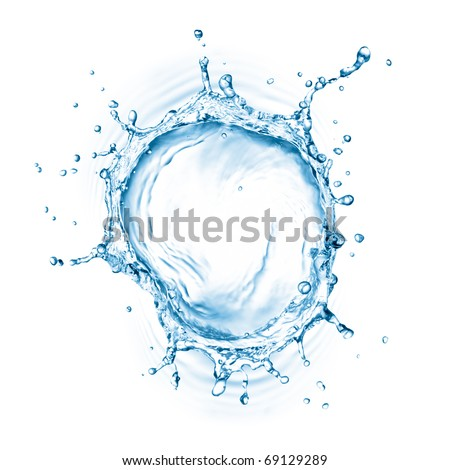 water splash with ripple from top view