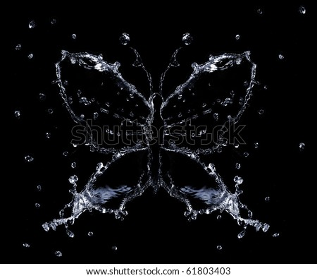 Water splashes and drops shaped as butterfly, black background isolated