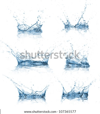 Water splashes collection - stock photo