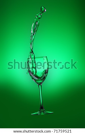 Water splashes out of water glass