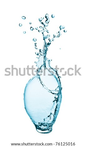 water splashing  close up isolated on white background