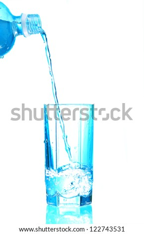 water splashing from plastic bottle in glass isolated on white background