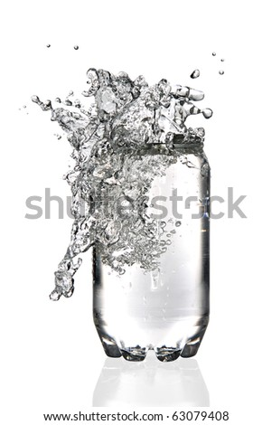 Water splashing in a transparent soda can