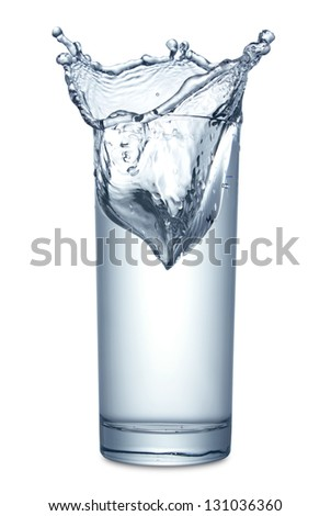 Water splashing in glass on white background, isolated