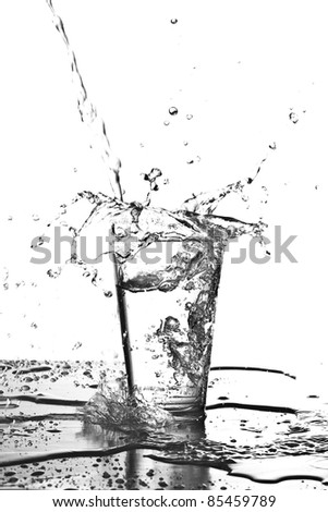 water splashing into a glass on white background