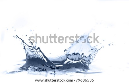Water splashing, isolated on white