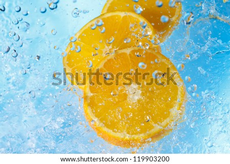water splashing on orange slices-top view