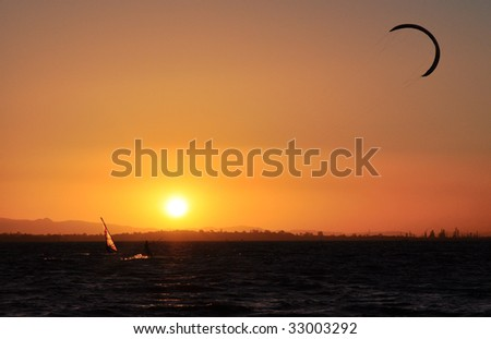Water sports at sunset