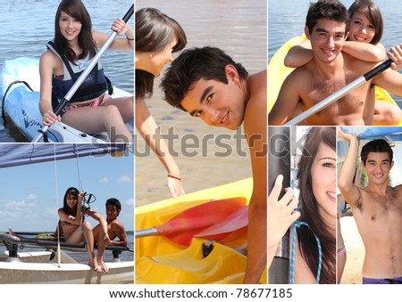 Water sports themed collage