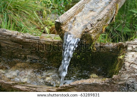 Water spring with wooden channel.