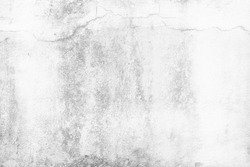 Water Stain and Crack on White Concrete Wall Texture Background.