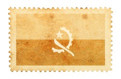 Water stain mark of Angola flag on an old retro brown paper postage stamp.