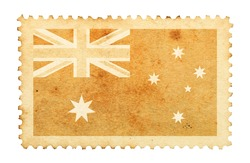 Water stain mark of Australia flag on an old retro brown paper postage stamp.