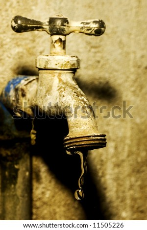 Water starts to drip from faucet