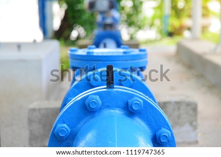 Water steel pipe close up image. Select focus of drink water piping. Flange Pipe Fitting