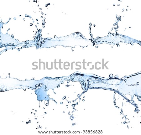 Photo of Water stripe made of splashes, isolated on white background