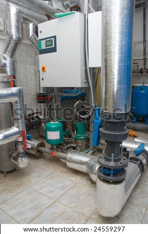 water supply booster set in the basement of building